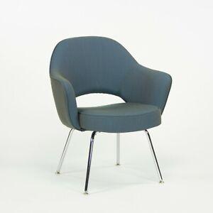 2014 Eero Saarinen for Knoll Blue Fabric Executive Arm Chair with Chrome Legs