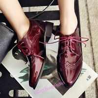 Womens Chunky Heel Pointy Toe Brogues Lace Up Wingtip Patent Leather Oxford Shoe
