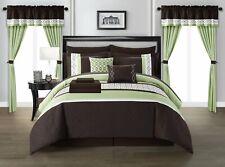 Dirch 20 Piece Comforter Bed in a Bag Sheet Set Curtains Pillows Shams Green