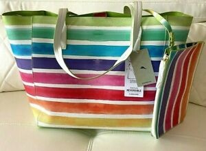 NWT Tommy Bahama Beach Big Bag Reversible Multicolor Bonus Tablet Size Pouch