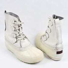 Sorel rain Duck Boots rubber Size 8 white lace up