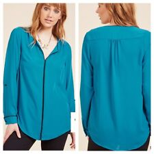 Modcloth Podcast Co-Host Split Neck Teal Turquoise Top size xl new