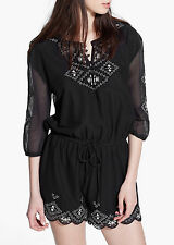 Stunning NEW L sz 14 MANGO BLACK EMBROIDERED EMBELLISHED PLAYSUIT RRP £60