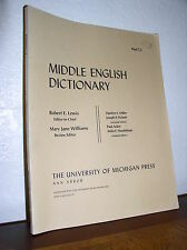 Middle English Dictionary Part T. 1 by Robert E. Lewis (1993, PB,Univ. of Mich)