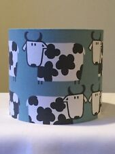 20cm DRUM LAMPSHADE iLiv SCANDI STYLE COW FARM ANIMAL COUNTRY DUCK EGG BLUE