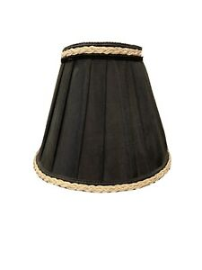 """Lampshade Small Black With Braided Trim Clip-On Style - 6"""" x5"""""""