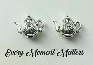 "10 x Tibetan Silver TEA POT TEAPOT ""TEA TIME"" WORDING"" 3D 16x13mm Charms Pendant"