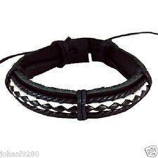 Armband leder zwart &  wit, breedte= 13 mm