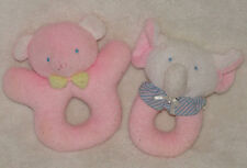 Vtg Eden Kids Gifts Bear Elephant Pink Terry Cloth Ring Rattles Baby Toy Lot 2
