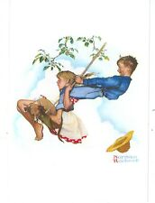 NORMAN ROCKWELL- YOUNG LOVE/SWINGING ON POSTCARD  (NR-65*)