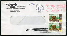 BAHAMAS POSTAGE DUE on METER FRANKING FIAT POWERS CORP ENVELOPE from USA SKOKIE