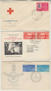 INDIA 1957/58 3x FDCs RED CROSS, STEEL INDUSTRY & AIR FORCE SILVER JUBILEE
