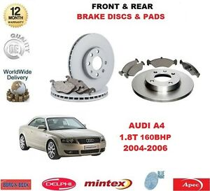 FOR AUDI A4 1.8T 2004-2008 NEW FRONT & REAR BRAKE PADS & DISCS
