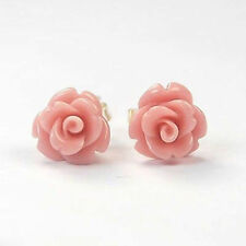 Fashion Jewelry Coral pink 925 Sterling Silver Stud Earrings