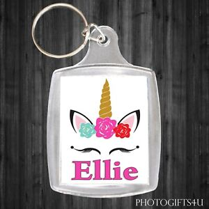 Personalised UNICORN Keyring / Bag Tag With Your Name - Large 35x45mm School etc