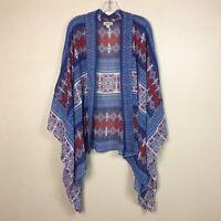 One World Live & Let Live Size 1X Floral Boho Kimono Red Blue