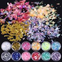 12Colors/Set Iced Mylar 3D Nail Art Glitter Powder Acrylic UV Gel Tips Decor