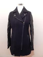 American Eagle Womens BLACK Wool Pea Coat Moto Jacket L Vegan Leather Sleeves