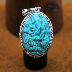 BBJ Turquoise Rose with Butterfly Enhancer Pendant Rhodium Over Sterling Silver