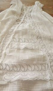 ANTIQUE WHITE BRODERIE ANGLAIS LACE BABY GOWN / CHRISTENING GOWN