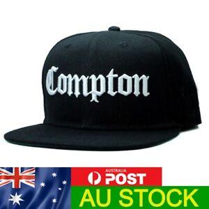 Compton Snapback Cap Hat Eazy E NWA Dr Dre Ice Cube Rap Hip Hop Flat Peak Black