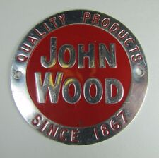Old JOHN WOOD Quality Products Since 1867 Nameplate Equipment Tag Small Adv Sign
