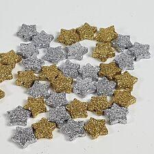 48x Sterne gold silber 1cm Streudeko Karten basteln Advent Weihnachten basteln