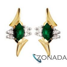 Marquise Emerald Diamond 9ct 9k Solid Yellow Gold Stud Earrings 54720/G