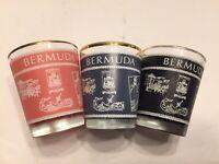 Free Shipping Lot Of 3 Bermuda Shot Glasses Gold Trim