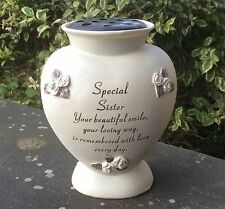 Memorial For Sister Heart Shaped Grave Flower Vase Rose Bowl Funeral Ornament