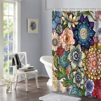 Boho Floral Shower Curtains for Bathroom Bright Fabric Blossom Shower Curtain US
