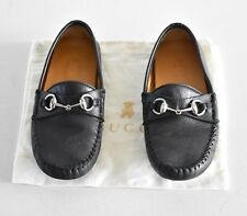 Gucci Toddler Black Leather Horsebit Moccasin Sz 28