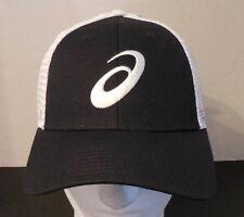 Asics Men's Neutron Cap/Hat Mesh Snapback Two Tone Retro Black/White New
