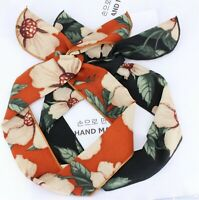 Women Hawaii retro Boho Tropical Leaf Wire bow scarf Hair head band headband