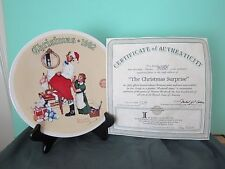 "Norman Rockwell Plate, 1992 ""The Christmas Surprise"", Coa, Edwin Knowles"