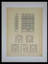 PARIS, 8 RUE DE CHANTILLY - 1895 - 2 GRANDES LITHOGRAPHIES- RIVES, ARCHITECTURE