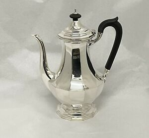 Quality Elkington & Co Solid Silver Faceted Coffee Pot