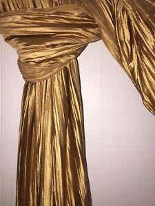 "GOLD Crinkle Satin Window Swag Scarf Valance Curtain Panel 41""x212"""