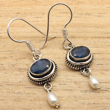 Simulated SAPPHIRE & WHITE PEARL Beaded Earrings, Silver Plated DECO Jewelry