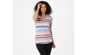 Denim & Co. Stripe Print Perfect Jersey Rounded V-Neck Top Rose/Blue XL A354204