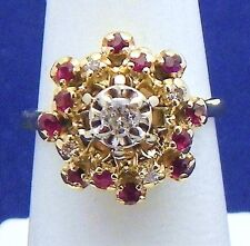 DIAMOND & RUBY COCKTAIL RING SOLID 14 K GOLD 5.7 g SIZE 6.75