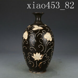 """10.92""""Chinese antique Song dynasty Cizhou kiln carving Flower Plum bottle"""