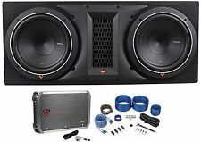 "Rockford Fosgate P1-2X10 Dual 10"" 1000W Car Subwoofers+Sub Box+Amplifier+Amp Kit"