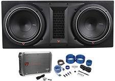 "Rockford Fosgate P1-2X10 Dual 10"" 1000W Car Subwoofers+Sub Box+Amplifier+Amp Kit"