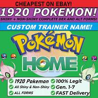 Pokemon Home ALL 807 SHINY&NONSHINY CUSTOM TRAINER FULL Living Dex 1920 TOTAL