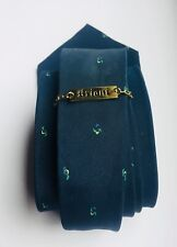 Brioni men's silk tie blue green yellow skinny vintage