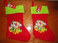 "2 CHRISTMAS DISNEY HOLIDAY FELT STOCKINGS W/PICTURES.   15""."