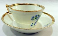 MEISSEN German Porcelain BLUE BONNET FLOWER Demitasse CUP & SAUCER BOWL W/ GOLD