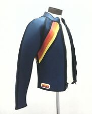 EUC BARE Mens WETSUIT 2 PC SET Zip Jacket/Suit RETRO STRIPED Blue Surf SCUBA * L