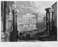 ROME FORUM TEMPLE CONCORD RUINS ~ 1835 Roman Architecture Art Print Engraving